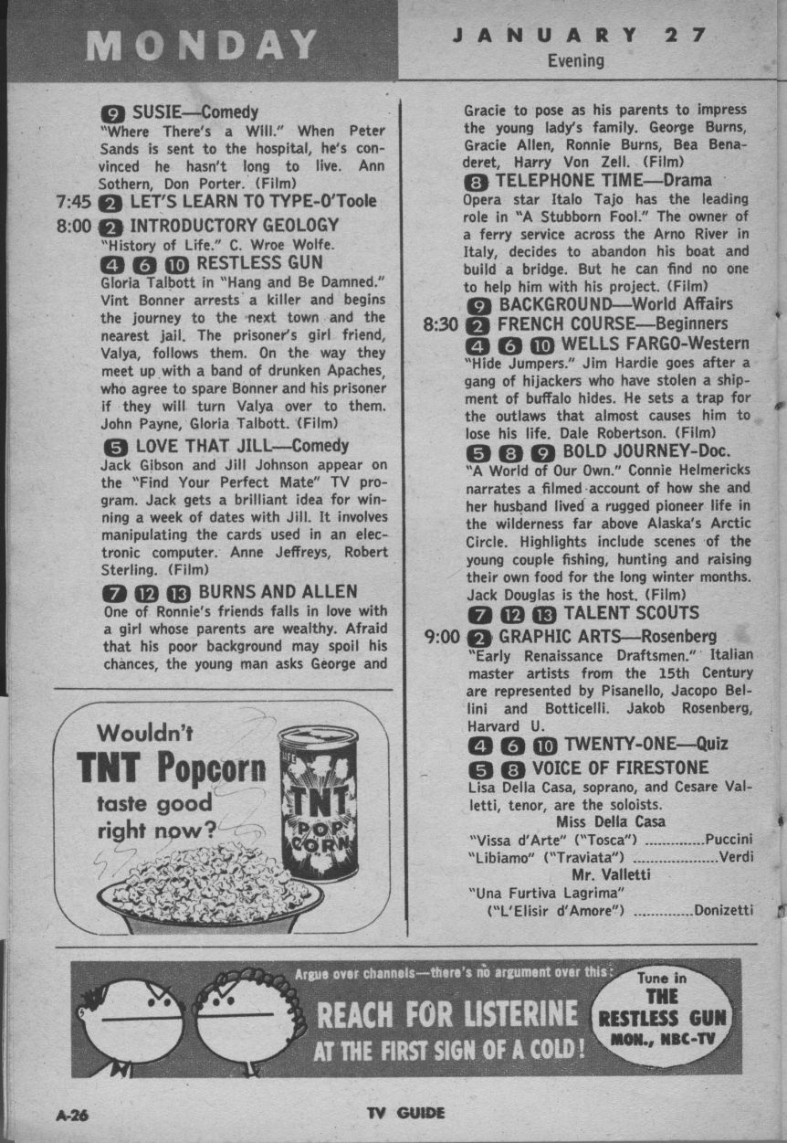 Image result for images of TV listings, 1958