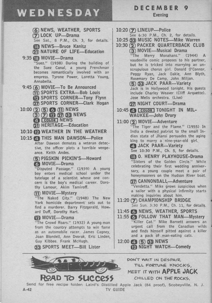 Image result for images of 1959 TV listings