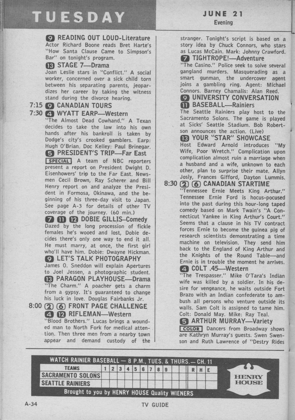 ctva - us tv listings - 1960