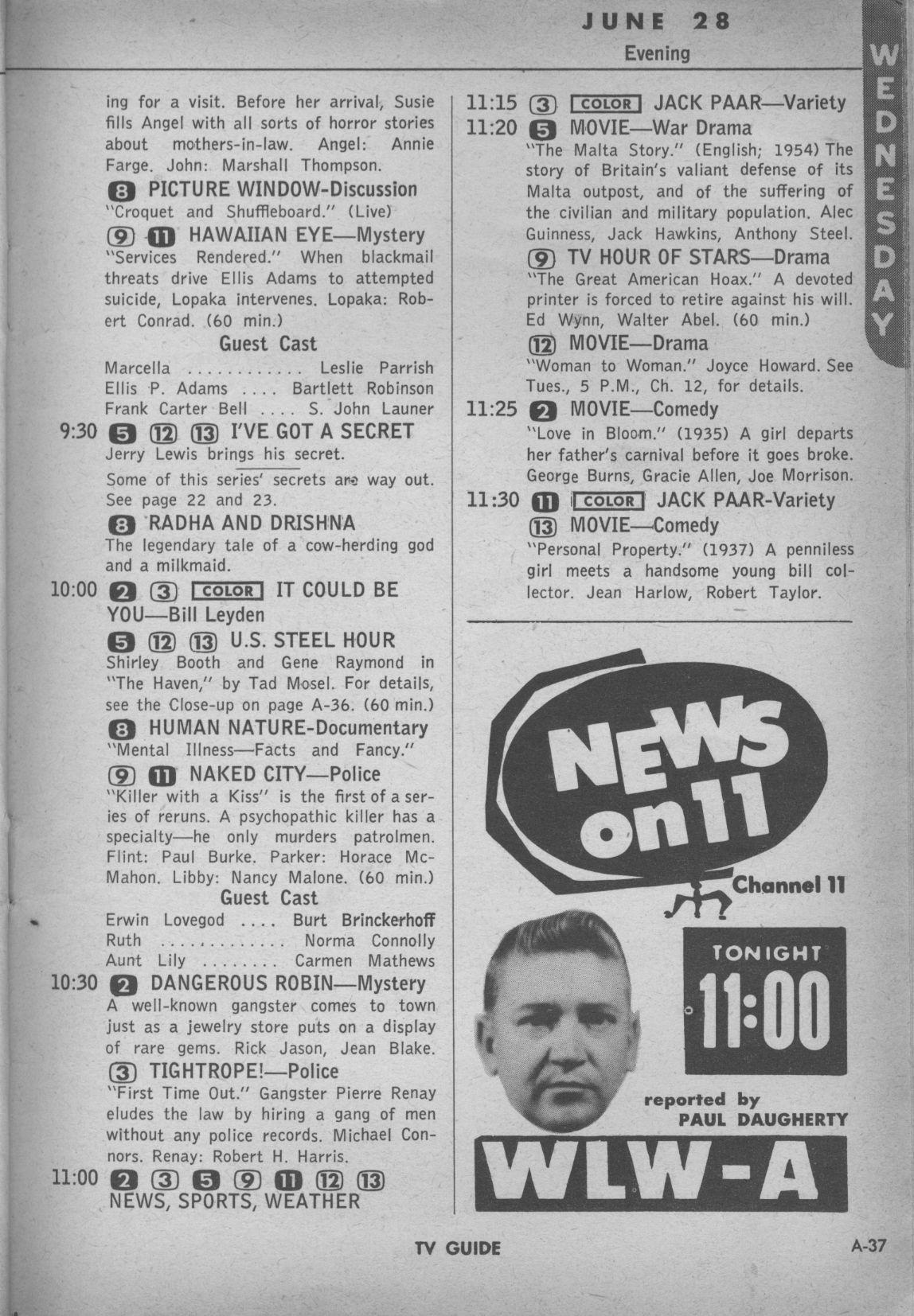 CTVA - US TV Listings - 1961