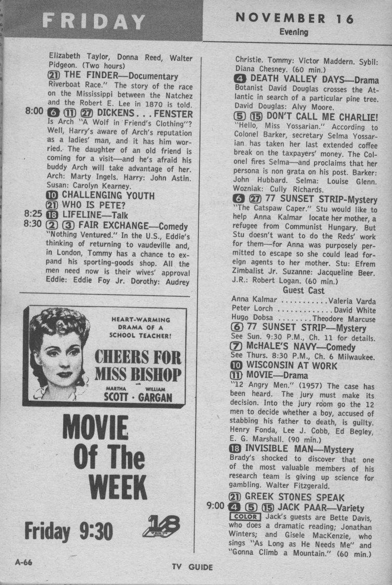 CTVA - US TV Listings - 1962