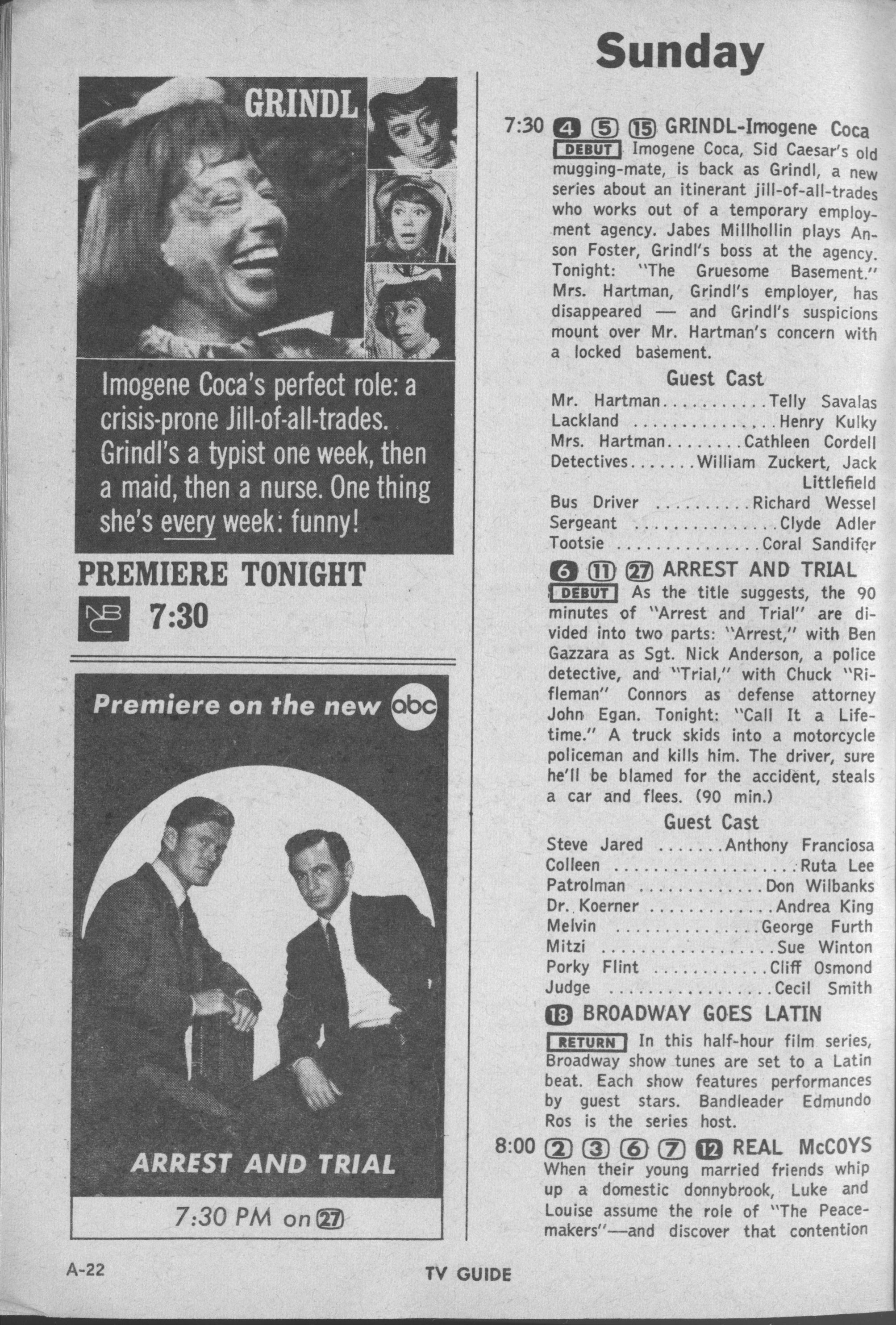 CTVA - US TV Listings - 1963