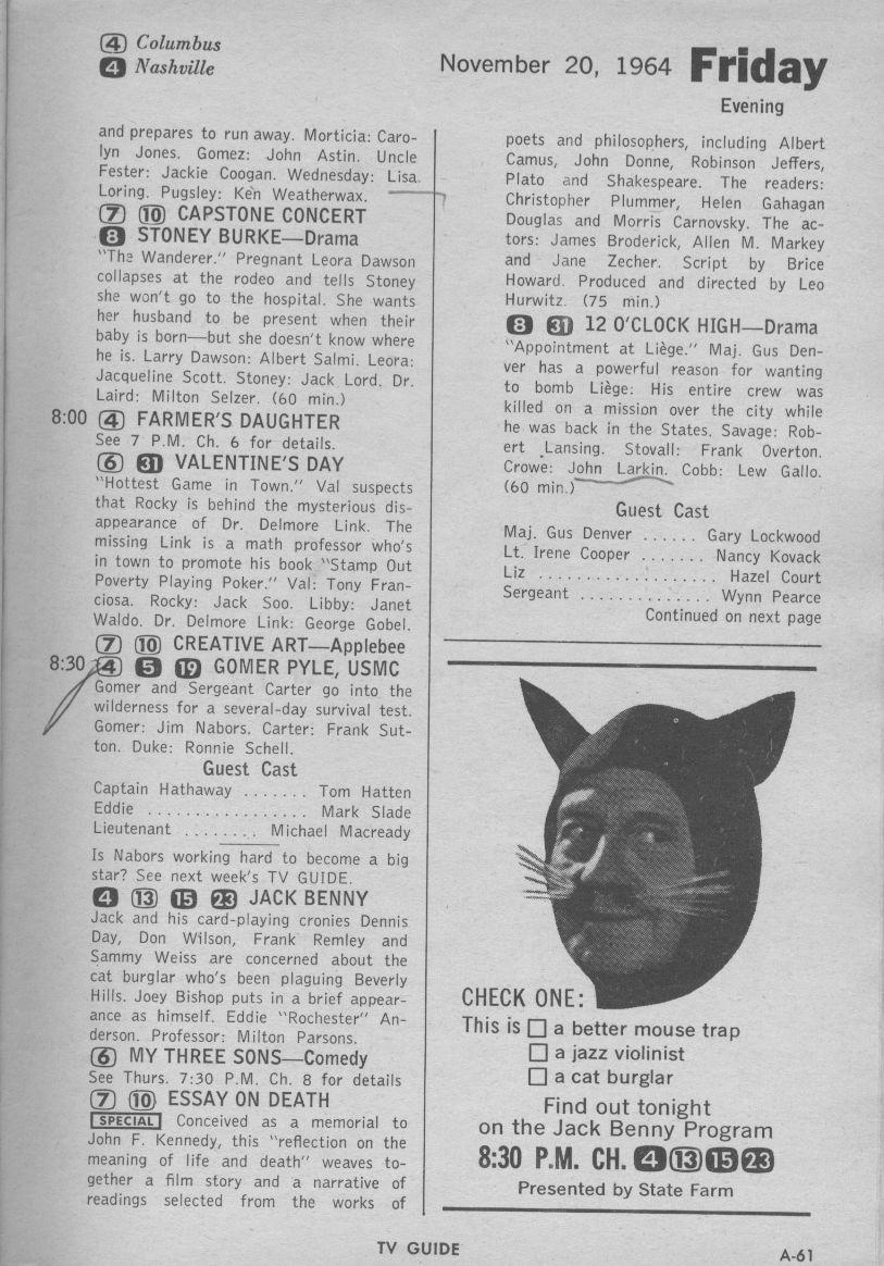 CTVA - US TV Listings - 1964