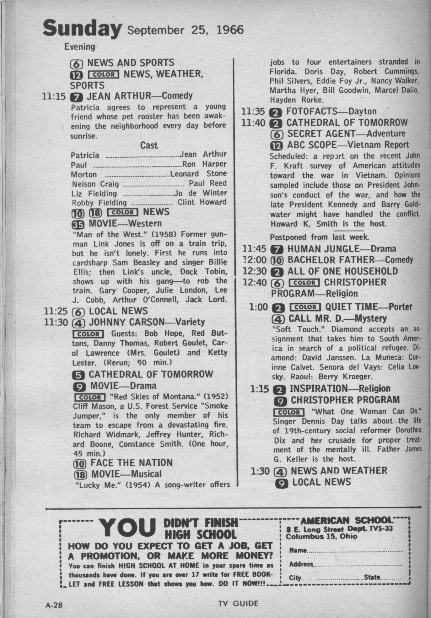 Ctva Us Tv Listings 1966 1990 Dodge Ramcharger Wiring Diagram Tvg 09 25 Sun 2315