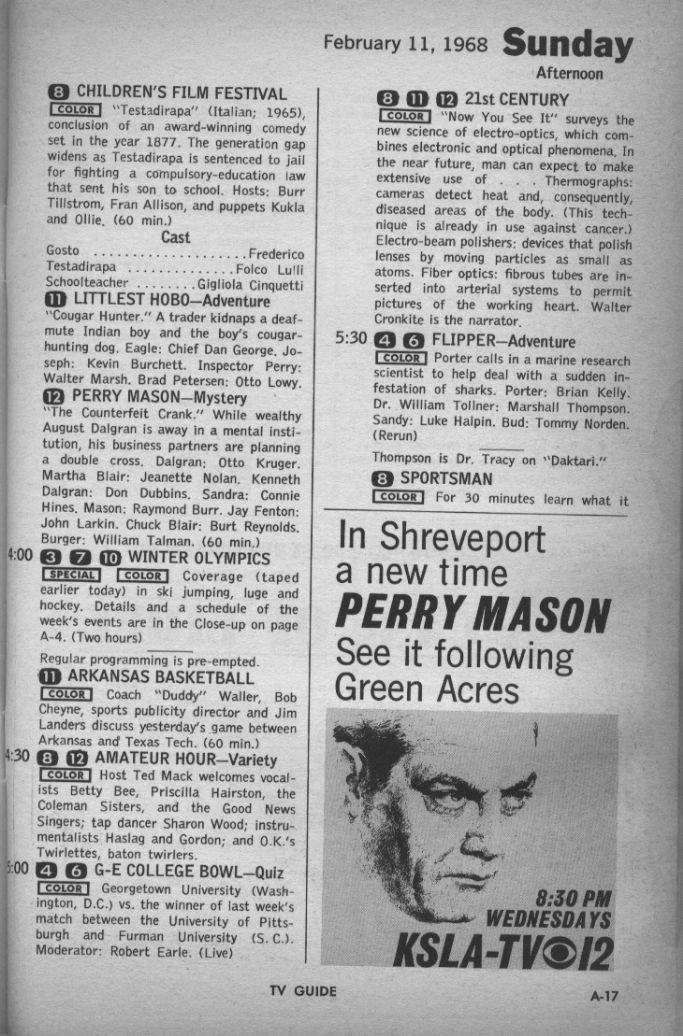 CTVA - US TV Listings - 1968