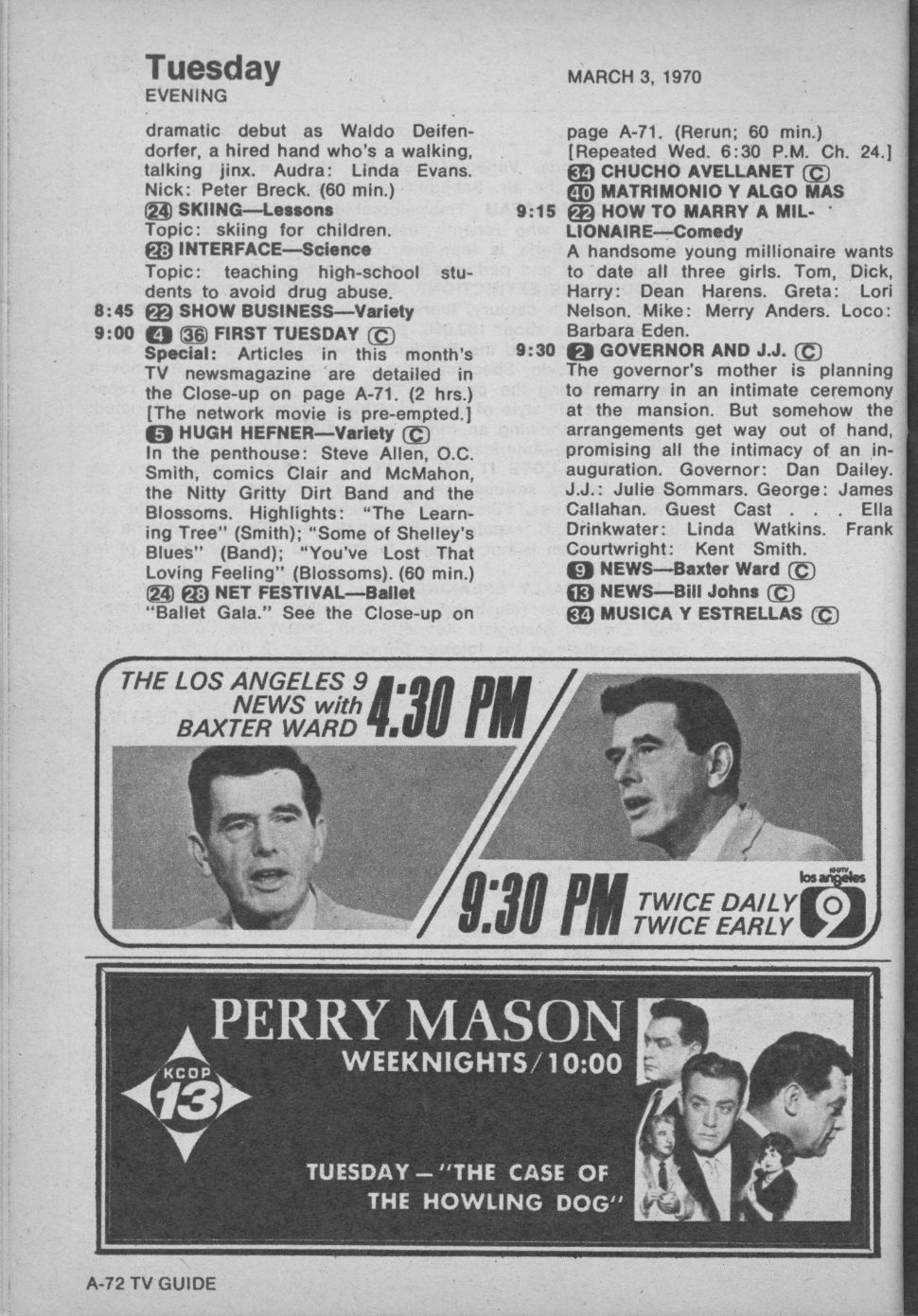 ctva - us tv listings - 1970