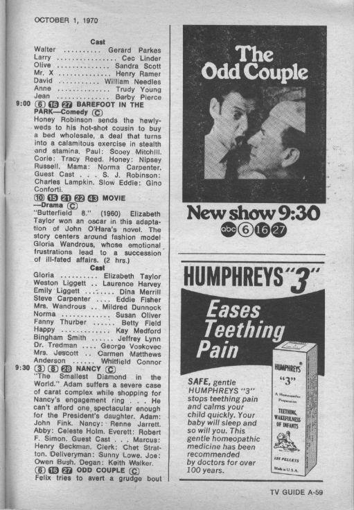 CTVA - US TV Listings - 1970